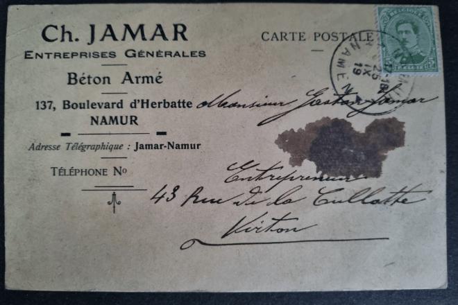 Carte postale à entête : année 1919